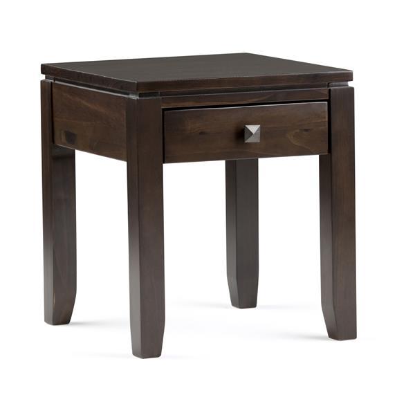 Simpli Home Cosmopolitan 17.5-in x 17.5-in x 20.1-in Coffee Brown End Table