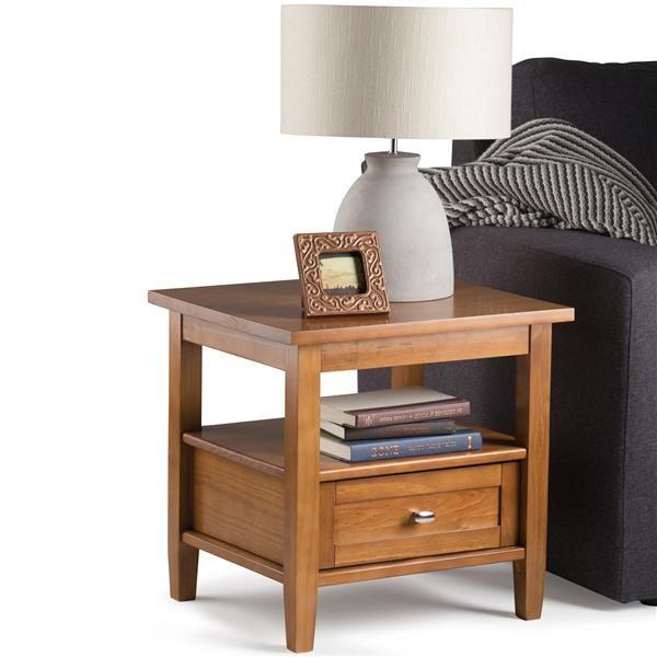Simpli Home Warm Shaker 20.1-in x 18.1-in x 19.7-in Light Honey Brown End Table