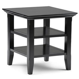 Simpli Home Acadian 19-in x 19-in x 20-in Black End Table