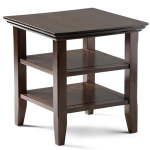 Simpli Home Acadian 19-in x 19-in x 20-in Tobacco Brown End Table