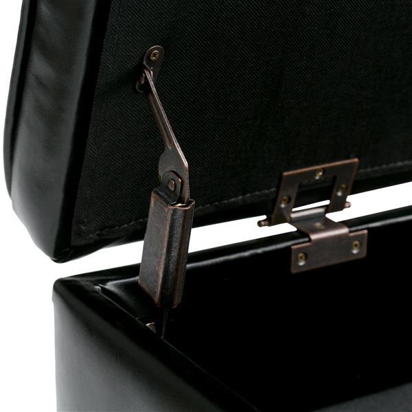 Simpli Home Cosmopolitan 43.5-in x 17-in x 18.1-in Midnight Black Entryway Storage Ottoman Bench