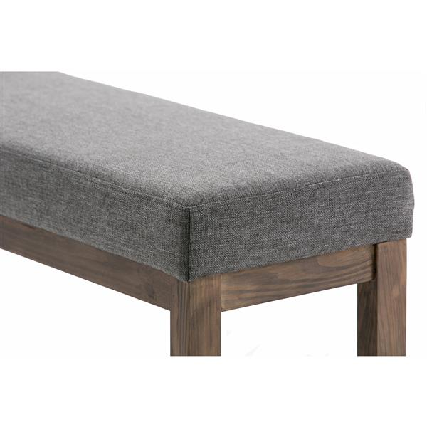 Simpli Home Milltown 44.1-in x 14.4-in x 18.3-in Grey Large Ottoman Bench