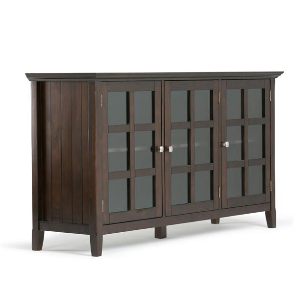 Simpli Home Acadian Tobacco Brown Wide Storage Cabinet