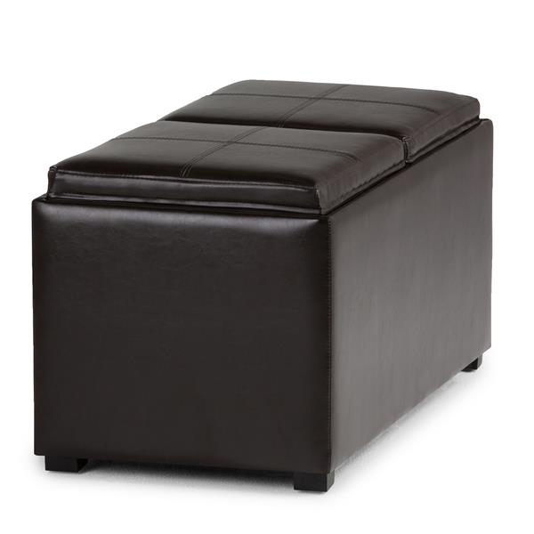 Simpli Home Avalon 35-in x 18-in x 17-in Tanners Brown 5-Piece Storage Ottoman