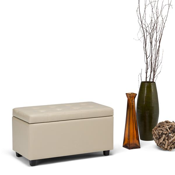 Simpli Home Cosmopolitan 33.5-in x 17.3-in x 17.7-in Satin Cream Medium Storage Ottoman Bench