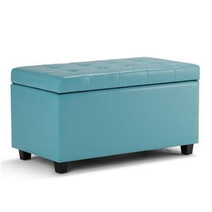Simpli Home Cosmopolitan 33.5-in x 17.3-in x 17.7-in Soft Blue Medium Storage Ottoman Bench