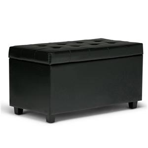 Simpli Home Cosmopolitan 33.5-in x 17.3-in x 17.7-in Midnight Black Medium Storage Ottoman Bench
