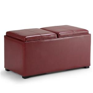 Simpli Home Avalon 35-in x 18-in x 17-in Radicchio Red 5-Piece Storage Ottoman