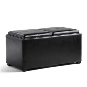 Simpli Home Avalon 35-in x 18-in x 17-in Midnight Black 5-Piece Storage Ottoman