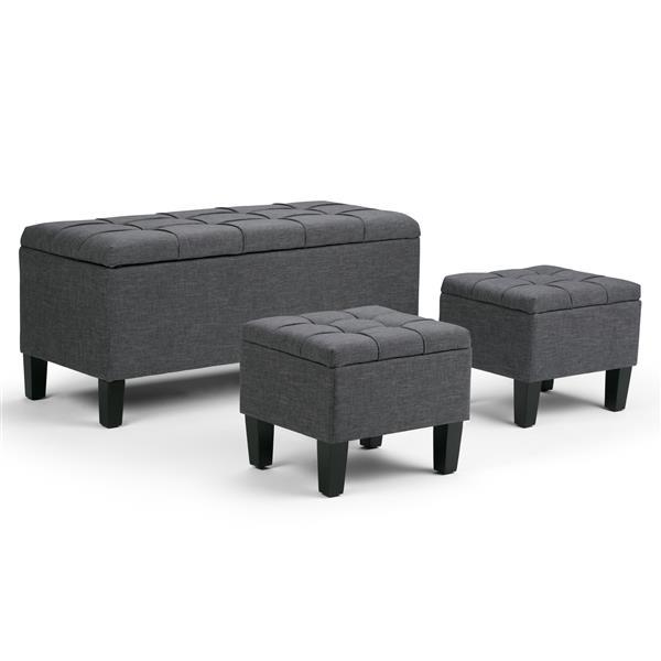 Simpli Home Dover Slate Grey 3-Piece Storage Ottoman Bench
