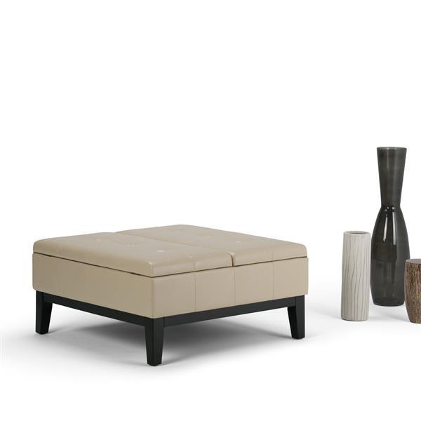 Simpli Home Dover 35.8-in x 35.8-in x 18.5-in Satin Cream Square Coffee Table Ottoman