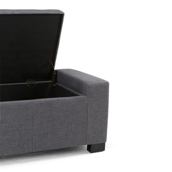 Simpli Home Laredo 51-in x 20.1-in x 17.3-in Slate Grey Large Storage Ottoman Bench