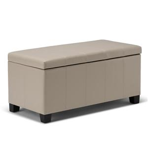 Simpli Home Dover 36-in x 18-in x 18-in Satin Cream Storage Ottoman Bench