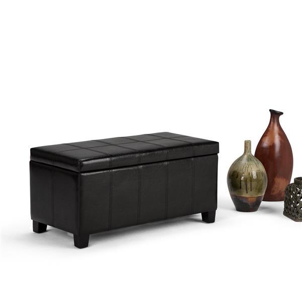 Simpli Home Dover 36-in x 18-in x 18-in Midnight Black Storage Ottoman Bench