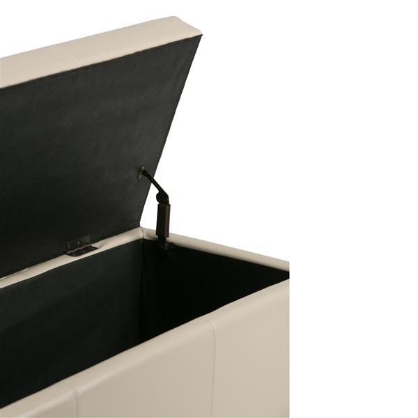 Simpli Home Avalon 48-in x 18-in x 16-in Satin Cream Large Storage Ottoman Bench