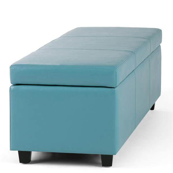 Simpli Home Avalon 48-in x 18-in x 16-in Blue Large Storage Ottoman Bench