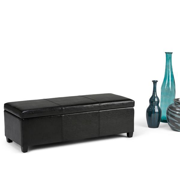 Simpli Home Avalon 48-in x 18-in x 16-in Midnight Black Large Storage Ottoman Bench