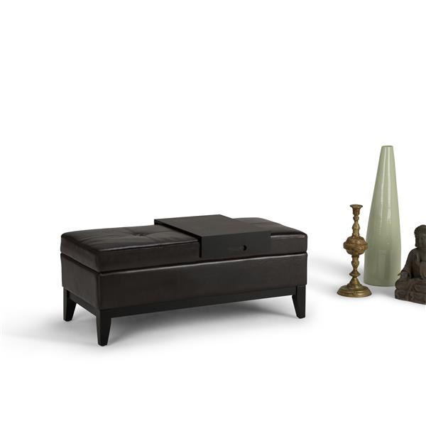 Simpli Home Oregon Tanners Brown Storage Ottoman Bench with Tray