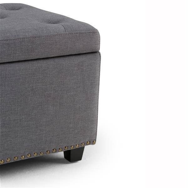 Simpli Home Hamilton 48-in x 17.7-in x 16.1-in Slate Gray Large Storage Ottoman Bench