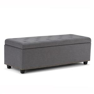 Simpli Home Hamilton 48-in x 17.7-in x 16.1-in Slate Gray Large Storage Ottoman Bench