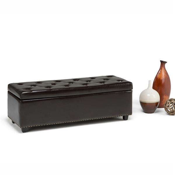 Simpli Home Hamilton 48-in x 17.7-in x 16.1-in Coffee Brown Large Storage Ottoman Bench
