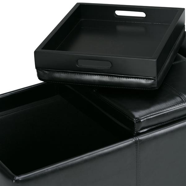 Simpli Home Avalon 41.7-in x 16.9-in x 16.9-in Midnight Black Extra Large Storage Ottoman