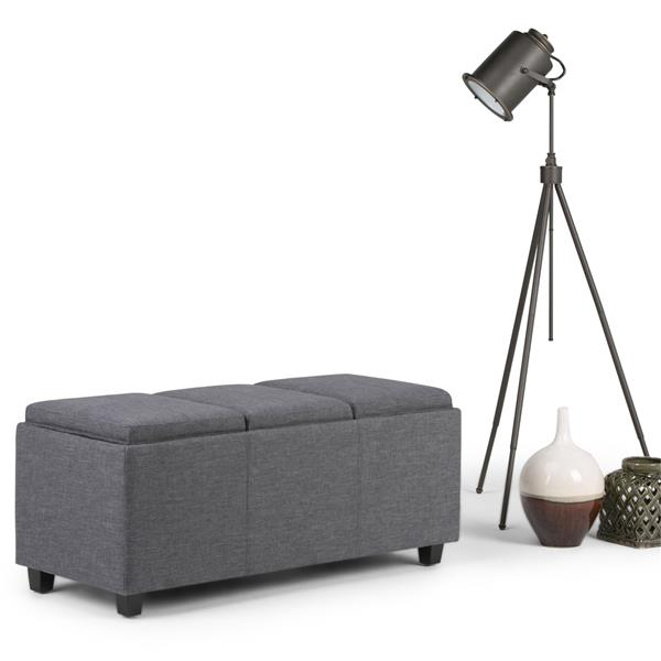 Simpli Home Avalon 42-in x 17-in x 17-in Slate Grey Extra Large Ottoman
