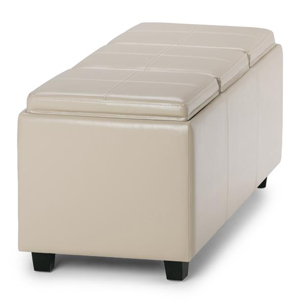 Simpli Home Avalon 42-in x 17-in x 17-in Satin Cream Extra Large Ottoman