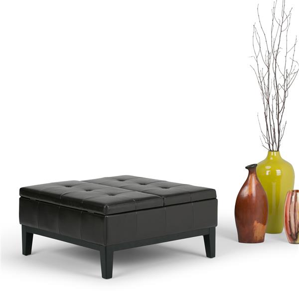 Simpli Home Dover 35.8-in x 35.8-in x 18.5-in Tanners Brown Square Coffee Table Ottoman