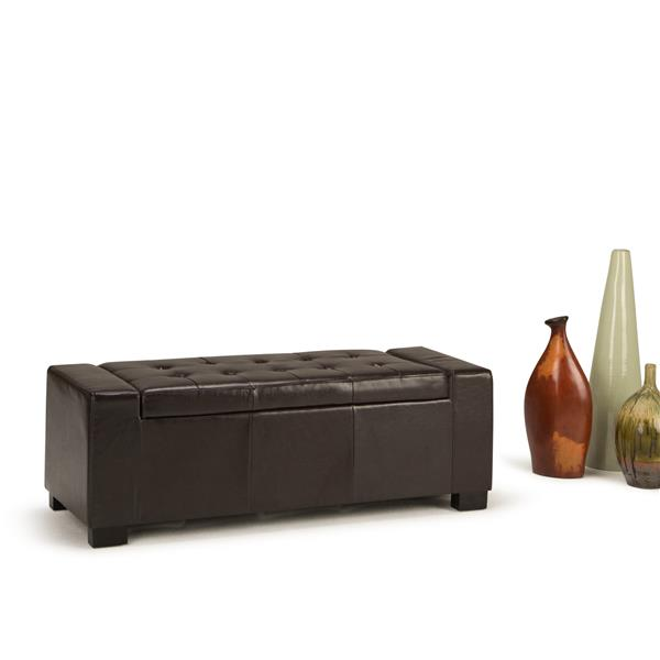 Ottomane de rangement rectangulaire Laredo, brun cuir