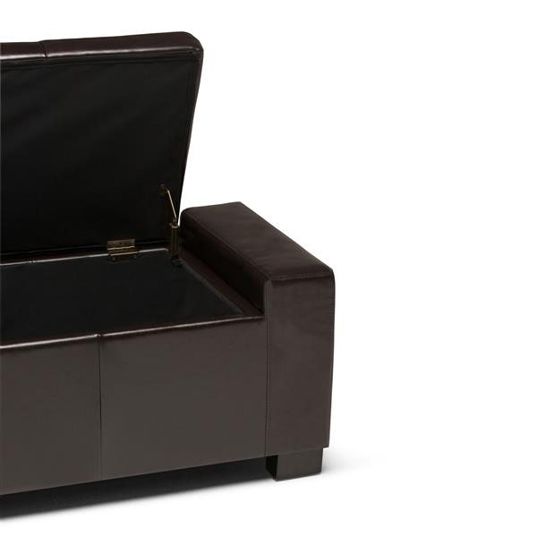 Simpli Home Laredo 51-in x 20.1-in x 17.3-in Tanners Brown Large Storage Ottoman Bench