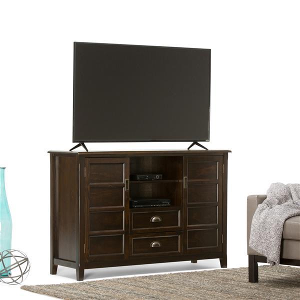 Simpli Home Burlington Espresso Brown Tall TV Media Stand