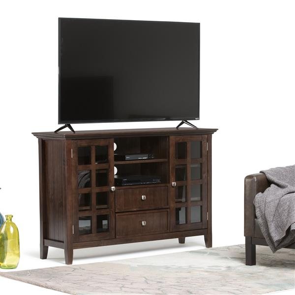 Simpli Home Acadian Tobacco Brown Tall TV Media Stand