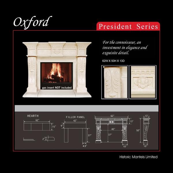 Manteau de cheminée President Oxford, ivoire