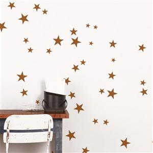 Copper Stars 3- in x 3- in Peel and Stick Wall Decal