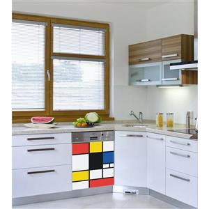 Peal and Stick Decal for Dishwasher - Pop Mondrian