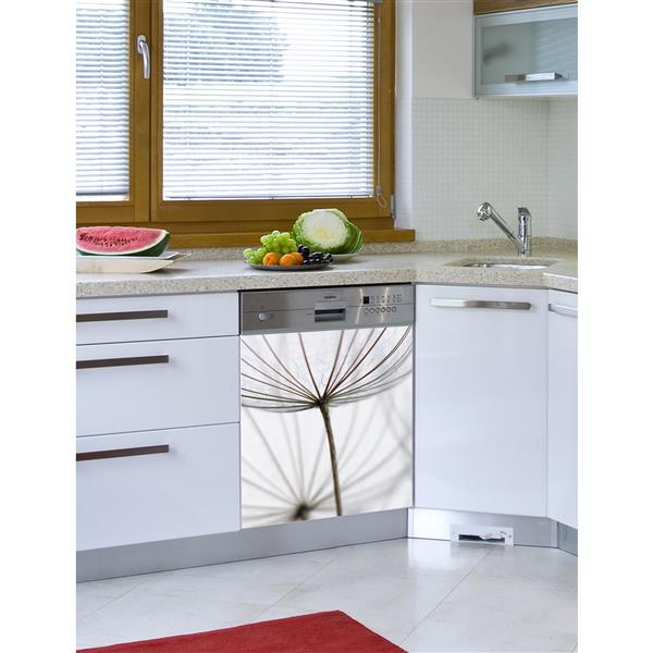 ADzif Peal and Stick Decal for Dishwasher - White Dandelion