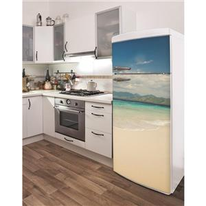 Lombok Beach 30- in x 70- in Peal and Stick Decal for Refrigerator