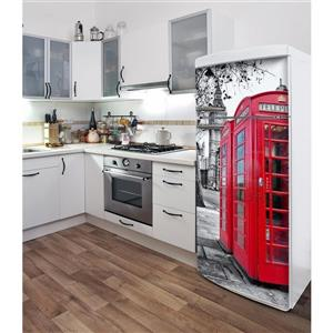 London  30- in x 70- in Peal and Stick Decal for Refrigerator