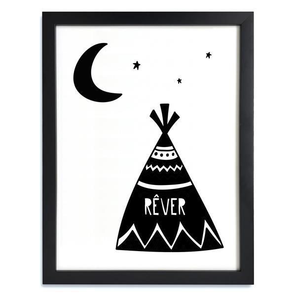 ADzif Framed Black and White Dream Tipi Print 12-in x 15-in