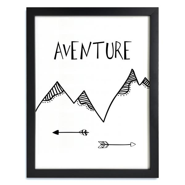 ADzif Framed Black and White Aventure Print 12-in x 15-in