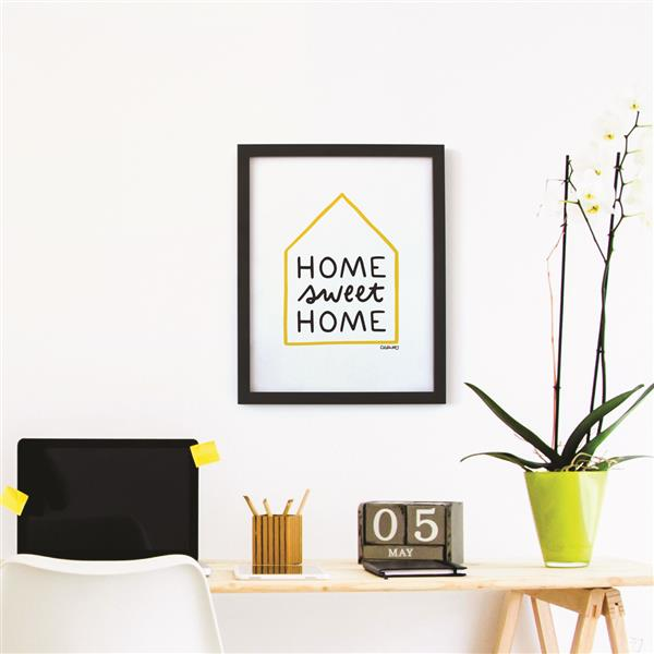 ADzif Framed Black/White/Yellow Home Print 12-in x 15-in