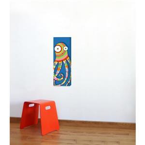 """Tableau d'art pour enfants, pieuvre, 8"""" x 24"""""""