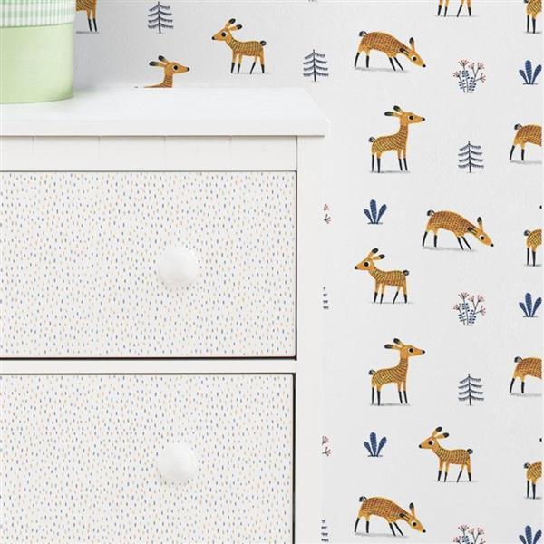 ADzif Deer Pattern 8 sq ft Blue/Brown Adhesive Wallpaper