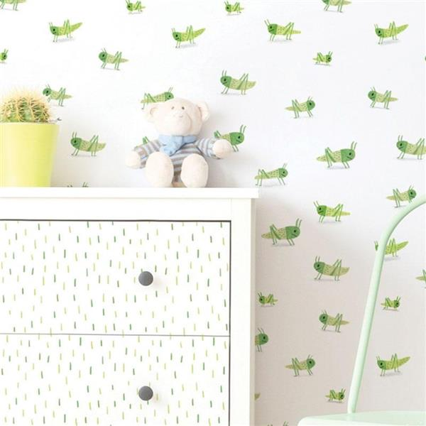 ADzif Locust Pattern 8 sq ft Aqua/Green Adhesive Wallpaper