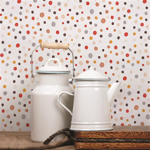 ADzif Mushroom 8 sq ft Multi Colour Adhesive Wallpaper