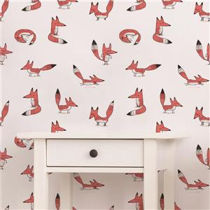 ADzif Foxes 8 sq ft Pink Adhesive Wallpaper