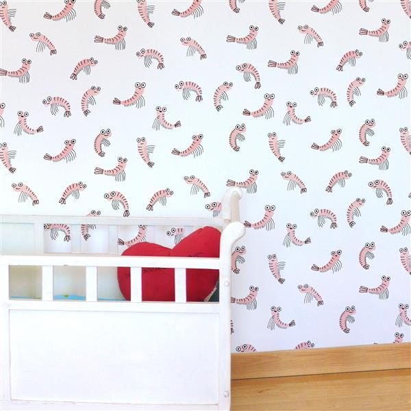 ADzif Shrimps 8 sq ft Pink Adhesive Wallpaper