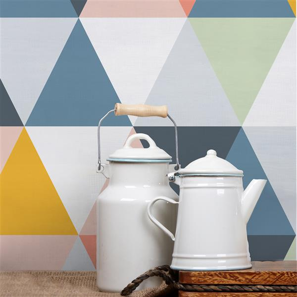 ADzif Light Triangles 8 sq ft Multi Colour Adhesive Wallpaper
