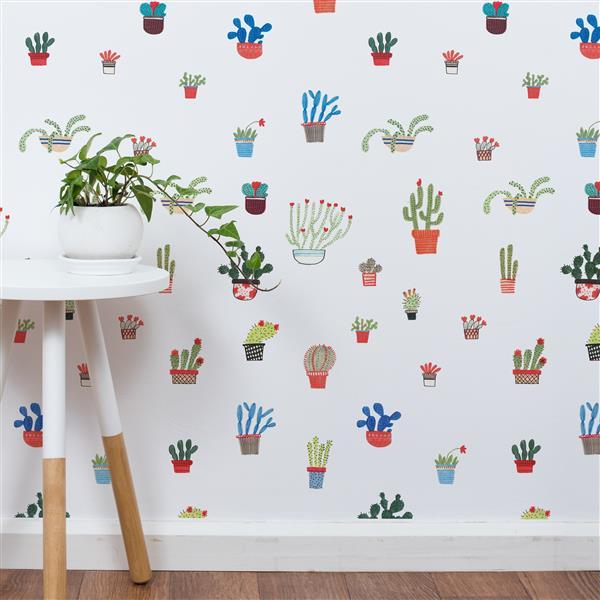 ADzif Cactus 8 sq ft Multi Colour Adhesive Wallpaper